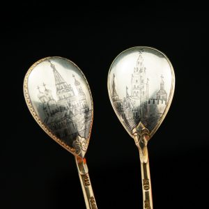 Imperial Russian 84 silver spoon, niello