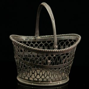 Antique English silver sweets basket