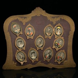 Antique set of miniature silk portraits of different emperors