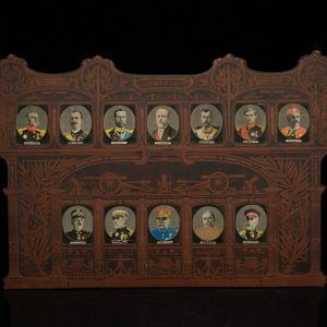 Antique set of miniature silk portraits of emperors