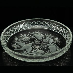 Antque Estonian crystal dish with birds