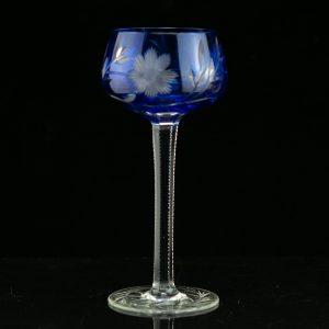 Bohemian wine glass, blue