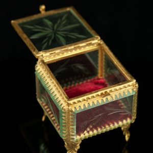 Antique glass bronze trinket box