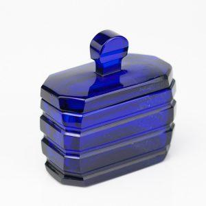 Antiikne art-deco sinine klaasist toos