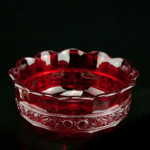 Antique cut to clear red glass bowl