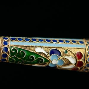 Russian silver enamel cigarette holder