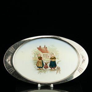 Art Nouveau porcelain tray with metal handles