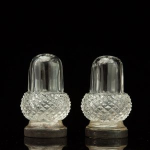 Pair of antique crystal salt shakers