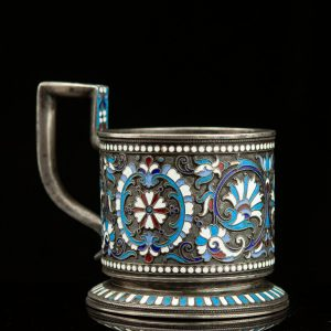 Imperial Russian teaglass holders - 84 silver, enamel
