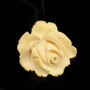 Vintage bone brooch, rose shape