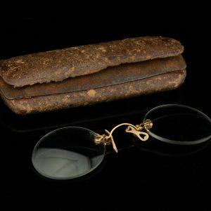 Antiiksed pinksnee prillid originaal karbis