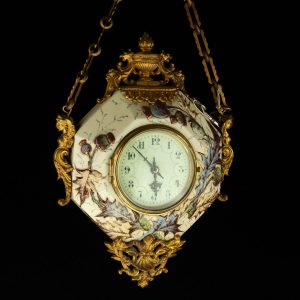 Antique French clock, bronze,  ceramic, Eugene Farcot (1830-1896)
