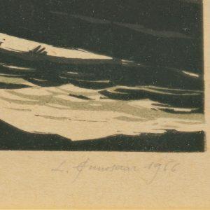 Leopold Ennosaar (1920-1999) Maastik,linool 1966a