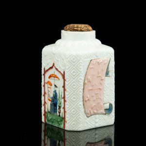 Antique Russian tea jar, milk glass