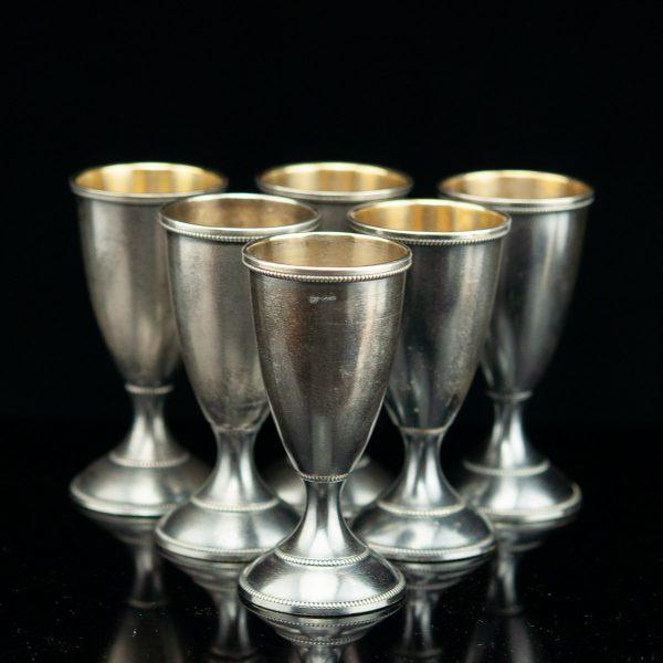 Set of 6 Estonian silver vodka shots