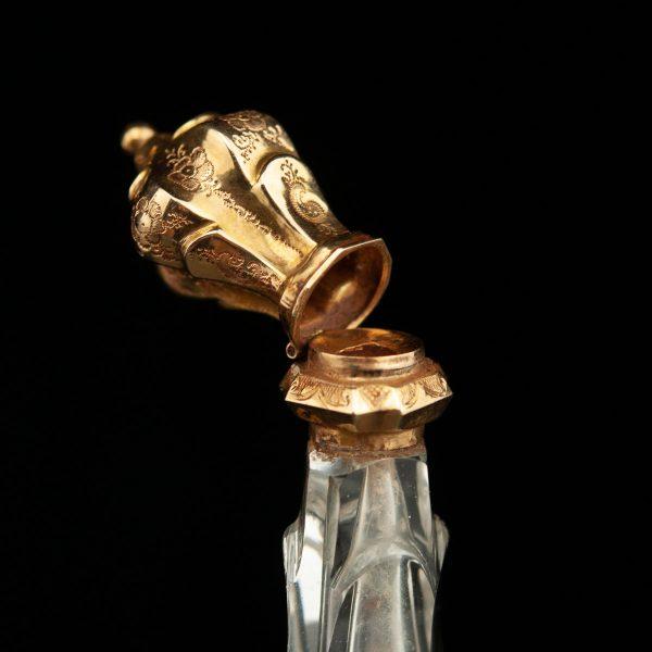 Antiikne Prantsuse lõhnaõli pudel, kristall kullaga, 19.saj.