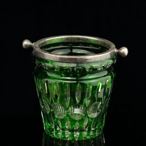 Antique Art Deco green cut class ice bucket