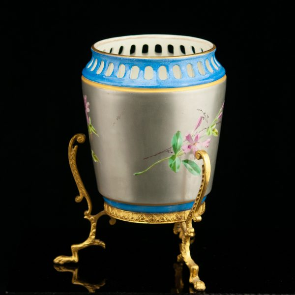 Antiikne vaas (lambi jalg?) pronks, portselan, käsimaal