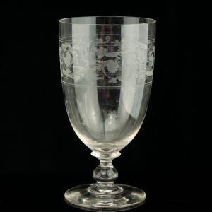 Antique glass goblet, engraved