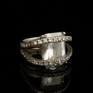Silver ring with mountain crystal