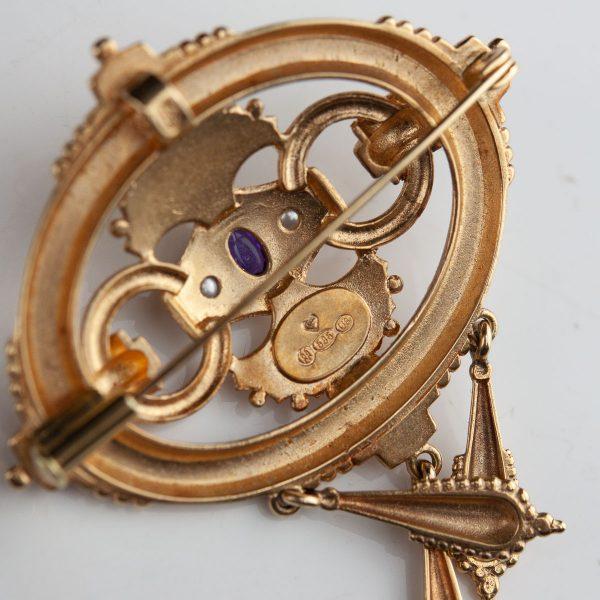Antiikne pross, 585 kuld, ametüst, pärlid - Kalevala Koru