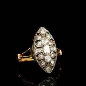 """Antiikne sõrmus """"Markiisitar"""" 56 kuld, 1.1ct briljandid"""