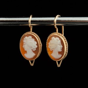Gold cameo earrings