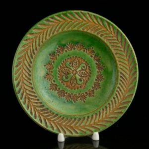 Antique green ceramic plate