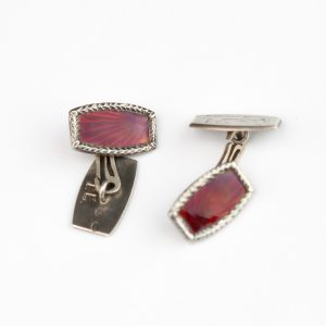 Estonian silver cufflinks with red enamel