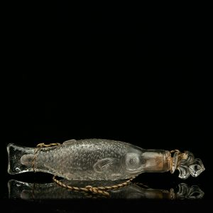 Antique glass bottle, fish shape