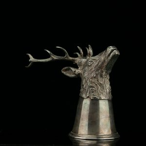 Antique elk head shape stirrup cup