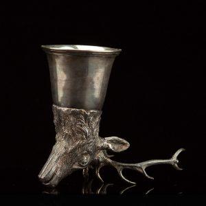 Antique elk head shape stirrup cup