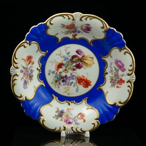 Antique Estonian Antique Langebraun porcelain dish , blue gilt