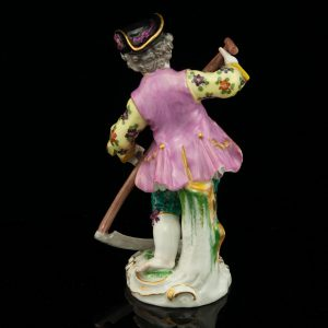 Antique Meissen porcelain figure, man with a skythe
