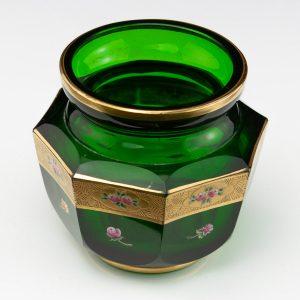 Antique green glass vase, gilt