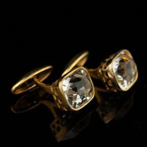 Mansetinööbid, 875 hõbe kullatud, mäekristall