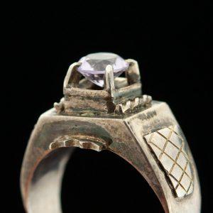 Sõrmus, 950 hõbe, lilla kivi