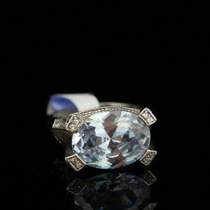 Sõrmus, 925 hõbe, lilla kivi