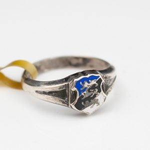 Estonian coat of arms silver enamel ring, three lions