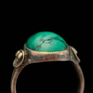 Antique Danish 925 silver ring, malachite - Evald Nielsen
