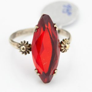 Antique 875 silver ring, red stone
