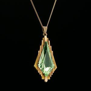 Art Deco gold pendant chrysolite, necklace