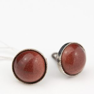 Silver earrings with sun stone