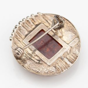 Antique silver 925 brooch, amber