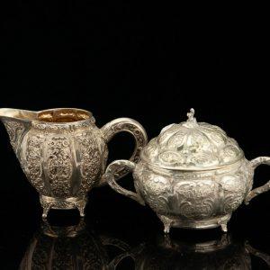 Antique silver sugar bowl and creamer