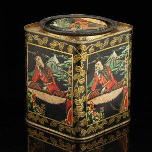 Antique tin box tea jar - CHA DO