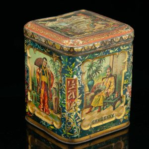 Antique Imperial Russian tin box tea jar, asian decorations