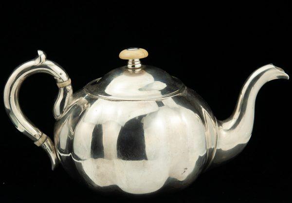 Antique 1859 Imperial Russian teapot , ivory parts , CAS , 84 silver AM