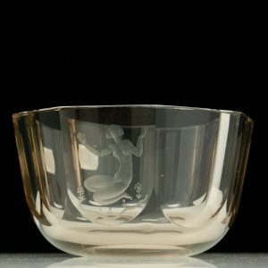 Antique engraved nude woman glass bowl