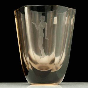 Antique engraved nude woman glass vase